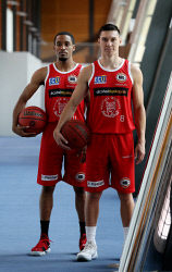 TWA-0083516 © WestPix Perth Wildcats stars Bryce Cotton, left and Jarrod Kenny, wearing the heritage round uniform. PICTURE NIC ELLIS   THE WEST AUSTRALIAN