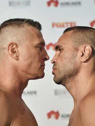 TWA-0084007 © WestPix Danny Green weigh in session with Anthony Mundine at Adelaide Oval ahead of their fight tomorrow. Picture: Ian Munro The West Australian 28/02/17