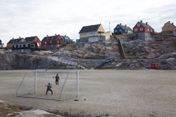 TWA-0084072 © WestPix Boys playing soccer on town pitches. Ilulissat, Greenland. Picture: Stephen Scourfield The West Australian