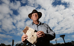 TWA-0084115 © WestPix Blaine Gibson the US wreckage hunter with a new piece of wreckage from MH370. Blaine is pictured with what is believed to  be a piece of the cabin. Picture: Ian Munro The West Australian 06/09/2016