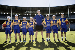 TWA-0084132 © WestPix Eagles 2nd Generation Academy: Adam Selwood is pictured with Noah Braun, Bailey Banfield, Harper Banfield, Cooper Green, Charlie Braun, Bryce Jakovich & Levi Lamb. Photo by Michael Wilson, The West Australian.