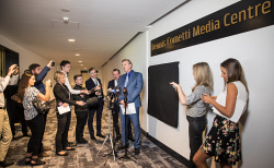 TWA-0084151 © WestPix Premier Mark McGowan and sports broadcaster Dennis Cometti at the launch of the new Dennis Cometti Media Centre at Optus Stadium. Pic Mogens Johansen, The West Australian