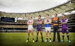 TWA-0084219 © WestPix Optus Stadium. Sports stars Dana Hooker (AFLW Fremantle Dockers), Michael Walters (Fremanle Dockers), Luke Shuey (West Coast Eagles), Ashton Agar (Perth Scorchers), Adam Taggart (Perth Glory). Picture: Simon Santi The West Australian
