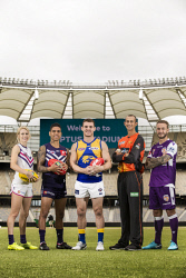 TWA-0084220 © WestPix Optus Stadium. Sports stars Dana Hooker (AFLW Fremantle Dockers), Michael Walters (Fremanle Dockers), Luke Shuey (West Coast Eagles), Ashton Agar (Perth Scorchers), Adam Taggart (Perth Glory). Picture: Simon Santi The West Australian