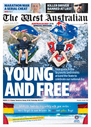 TWA-0084467 © WestPix Front page of The West Australian wraparound for Australia Day on the 25th January 2018