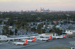 TWA-0084477 © WestPix Perth Domestic & International Airport from helicopter. Showing terminals, carparks, FIFO operators and Qantas aircraft. Picture: Sharon Smith