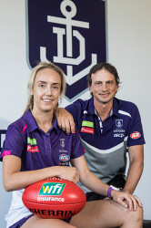 TWA-0084592 © WestPix Fremantle AFLW player Lisa Webb and her husband Marc Webb, who is a assistant coach for the Fremantle Dockers AFL team. Picture: Mogens Johansen, The West Australian