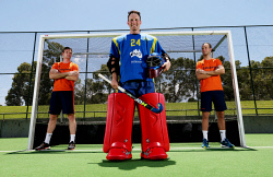 TWA-0084760 © WestPix Kookaburras goal keeper Tyler Lovell with Dutch players Mirco Pruyser, left and Billy Bakker. The Kookaburras are playing a four-game series against the Dutch in Perth over the next two weekends. PICTURE NIC ELLIS   THE WEST AUSTRALIAN