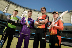 TWA-0084804 © WestPix BBL at Optus Stadium: Alex Blackwell from Sydney Thunder, Tim Paine from Hobart Hurricanes, Mitch Marsh & Emily Smith from the Perth Scorchers. Photo by Michael Wilson, The West Australian.