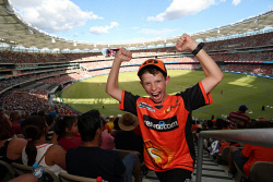 TWA-0084824 © WestPix 10 year old Nathan De Villiers of Quinns Rock at the Scorchers BBL game. Photo by Trevor Collens