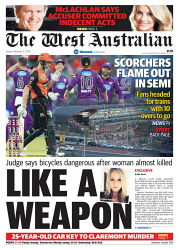 TWA-0084825 © WestPix Front page of The West Australian for the 2nd February 2018