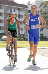 TWA-0084886 © WestPix Debra Kempe and  Mark Robson out training for the Long Course Triathlon World Championships held in Spain on the 29 July. Picture: Dione Davidson 17 July 2012