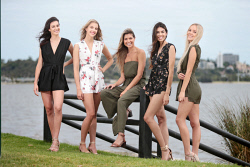 TWA-0085503 © WestPix Reigning Miss West Coast Jordy Kuriata, centre, with Miss West Coast 2018 contestants Alexis Woodger, Leah Bell, Catherine Davis and Remi Lane. Pictured at the South Perth foreshore. 2 FEBRUARY 2018 Picture: Danella Bevis The West Australian