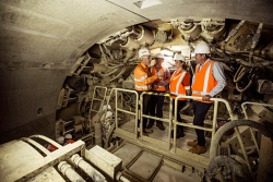 TWA-0085511 © WestPix Premier Mark McGowan and Transport Minister Rita Saffioti tour the new Forrestfield - Airport Link Tunnel site as well as the TBM Sandy Tunnel Boaring Machine today. Photo by Michael Wilson, The West Australian.