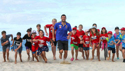 TWA-0085648 © WestPix West Coast Eagles star Jack Darling runs with kids at the Sunshine Beach Run for Red Nose Day at City Beach. PICTURE NIC ELLIS   THE WEST AUSTRALIAN