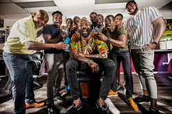 TWA-0085833 © WestPix Rowdy Perth Festvial Barber Shop Chronicles performers at Perfect Barbers in Mt Hawthorn, whose owner, Perfect Kwesi Brown, sits centre. Picture: Simon Santi The West Australian
