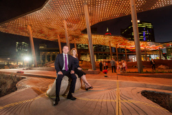 TWA-0085834 © WestPix Preview of the opening of Yagan Square. Includes the illumnated digital canopy, giant screen, Yagan statue and public square. Who: Premier Mark McGowan and Planning Minister Rita Saffioti. Photo Ross Swanborough. 14 February 2018