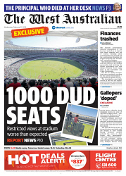 TWA-0085899 © WestPix Front page of The West Australian for the 21st February 2018