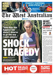 TWA-0086507 © WestPix Front page of The West Australian for the 5th March 2018