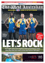 TWA-0087377 © WestPix Front page of The West Australian football wraparound for the 23rd March 2018