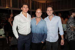 TWA-0087841 © WestPix Miss West Coast 2018 Finalists Cocktail Party at Cottesloe Beach Hotel on Wednesday March 28th, 2018. Lachy Nicholas, Sam Barnett & Harry Reiffer  Picture: John Koh.
