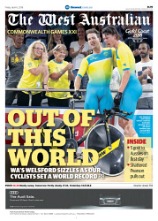 TWA-0087948 © WestPix Front page of The West Australian Commonwealth Games liftout for the 6th April 2018