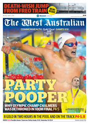 TWA-0087979 © WestPix Front page of The West Australian Commonwealth Games wraparound for the 9th April 2018