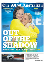 TWA-0088104 © WestPix Front page of Commonwealth Games wraparound for The West Australian for the 10th April 2018