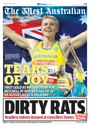 TWA-0088204 © WestPix Front page of Commonwealth Games wraparound in The West Australian for the 12th April 2018