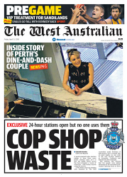 TWA-0088224 © WestPix Front page of The West Australian for the 13th April 2018