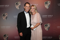 TWA-0088449 © WestPix Laurie Sawle Medal Night Red Carpet at Riverview Room, Optus Stadium on Thursday April 5th, 2018. Justin Langer & Sue Langer  Picture: John Koh.