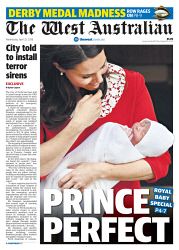TWA-0088922 © WestPix Front page of The West Australian for the 25th April 2018.