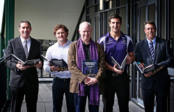 "TWA-0088950 © WestPix Launch of Fremantle Dockers ""An Illustrated History"". Author Les Everett is joined by (L-R) Steve Harris, Ben Allan, Matthew Pavlich and Steve Rosich. 22/07/14 Picture: Lincoln Baker/The West Australian."