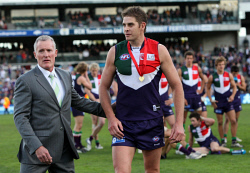 TWA-0089059 © WestPix Eagles and Fremantle at Subiaco Oval. Aaron Sandilands after winning the Ross Glendinning Medal. Picture: Mal Fairclough  (The West Australian) 25th July 2009