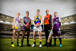 TWA-0089061 © WestPix Optus Stadium. Sports stars Dana Hooker (AFLW Fremantle Dockers), Michael Walters (Fremanle Dockers), Luke Shuey (West Coast Eagles), Ashton Agar (Perth Scorchers), Adam Taggart (Perth Glory). Picture: Simon Santi The West Australian