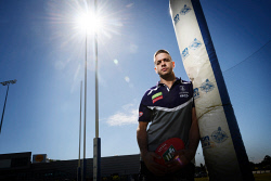 TWA-0089079 © WestPix Dockers star Stephen Hill tomorrow ahead of Sunday's derby. Hill has starred at half back this season and looms as a key player in the first derby at Optus Stadium. Picture: Ian Munro The West Australian  27/04/18
