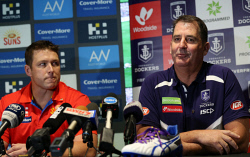 TWA-0089098 © WestPix Gold Coast Suns coach Stuart Dew and Fremantle Dockers coach Ross Lyon at Optus Stadium ahead of their game there tomorrow. PICTURE NIC ELLIS   THE WEST AUSTRALIAN