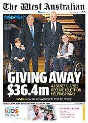TWA-0089153 © WestPix Front page of The Beneficiaries Telethon wraparound The West Australian for the 2nd May 2018