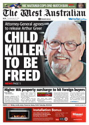 TWA-0089499 © WestPix Front page of The West Australian for the 10th May 2018