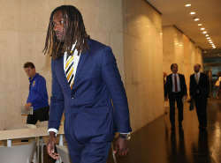 TWA-0089519 © WestPix West Coast Eagles ruckman Nic Naitanui fronts the media after his AFL tribunal appearance.  PICTURE NIC ELLIS   THE WEST AUSTRALIAN