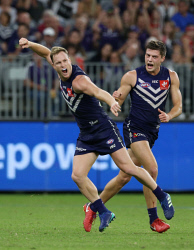 TWA-0089600 © WestPix AFL Round 8 - Fremantle Dockers vs St Kilda Saints at Optus Stadium, Perth. PIctured -  Fremantle's Brandon Matera celebrates a goal in the last term. Picture: Daniel Wilkins