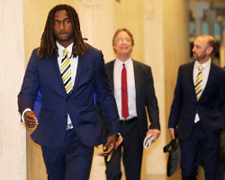 TWA-0089621 © WestPix West Coast Eagles ruckman Nic Naitanui fronts the media after his AFL tribunal appearance.  PICTURE NIC ELLIS   THE WEST AUSTRALIAN