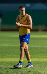 TWA-0090013 © WestPix West Coast Eages training at Subiaco Oval with pictures of Dom Sheed.  Photo Ross Swanborough. 15 May 2018