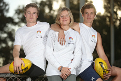 TWA-0090161 © WestPix Claire Eardley, centre, with her sons Cam Eardley and Joey Eardley ahead of a fundraiser the family are doing this weekend to raise funds to help prevent youth suicide. Claire's other son Kai, tragically took his own life at the age of 20. Pictured at East Fremantle Oval. (The Kai Eardley Fund.) 23 MAY 2018 Picture: Danella Bevis The West Australian