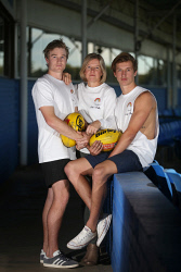TWA-0090162 © WestPix Claire Eardley, centre, with her sons Cam Eardley and Joey Eardley ahead of a fundraiser the family are doing this weekend to raise funds to help prevent youth suicide. Claire's other son Kai, tragically took his own life at the age of 20. Pictured at East Fremantle Oval. (The Kai Eardley Fund.) 23 MAY 2018 Picture: Danella Bevis The West Australian