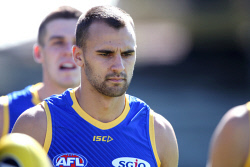 TWA-0090430 © WestPix West Coast Eagles' midfielder Dom Sheed at training at Lathlain Park this morning. Picture: Megan Powell The West Australian.