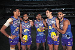 TWA-0090461 © WestPix West Coast Eagles Indigenous players Francis Watson, Willie Rioli, Liam Ryan, Brendon Ah Chee and Lewis Jetta. Pictured wearing the Eagles' 2018 Indigenous Round guernseys, prior to the team's training session at Optus Stadium ahead of their game against St Kilda during the AFL's Indigenous Round. 31 MAY 2018 Picture: Danella Bevis The West Australian