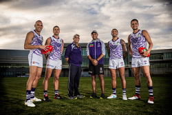 TWA-0090465 © WestPix Picture of former Fremantle star Roger Hayden and his dad, Roger Hayden with current Dockers Harley Bennell, left, Stephen Hill, Bradley Hill and Michael Johnson. Picture: Simon Santi The West Australian