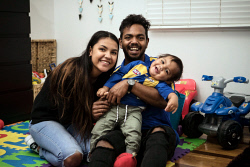 TWA-0090466 © WestPix West Coast Eagles star Willie Rioli is pictured at home with his partner Lucy Campbell-Brogan and their son Martin Rioli.  Picture: Michael Wilson The West Australian