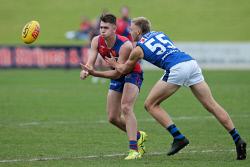 TWA-0090483 © WestPix West Perth's Tyler Keitel and East Perth's Oscar Allen. WAFL - East Perth v West Perth at HBF Arena, Joondalup. 4 JUNE 2018 Picture: Danella Bevis The West Australian